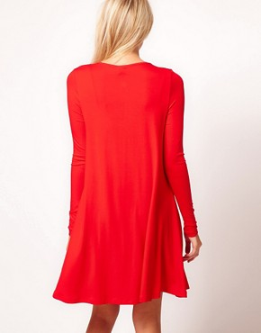 Image 2 ofASOS Swing Dress With Long Sleeves