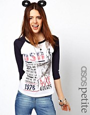 ASOS PETITE Exclusive USA Raglan T-Shirt