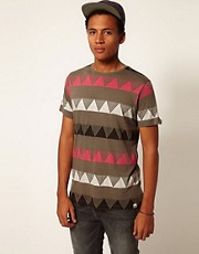 Boxfresh T-Shirt Intarsia Knit Triangle Lakshiya