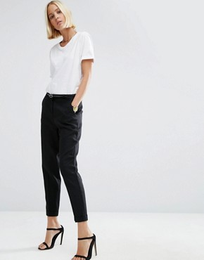 ASOS Linen Cigarette Trousers with Belt