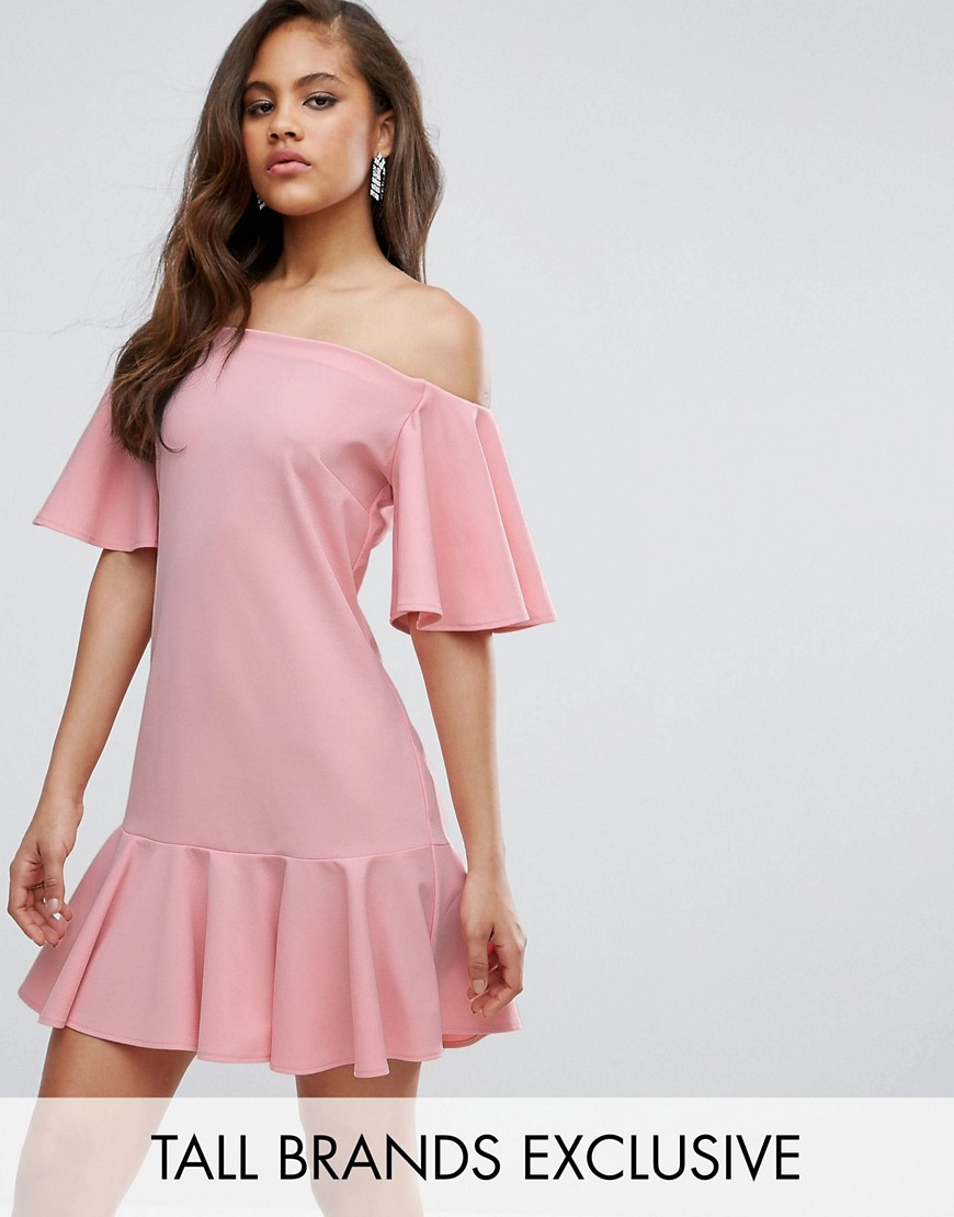 John Zack Tall Off Shoulder Mini Dress With Fluted Hem Detail