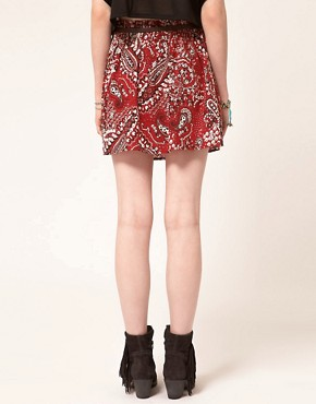 Image 2 ofBand of Gypsies Belted Skater Skirt in Bandana Print
