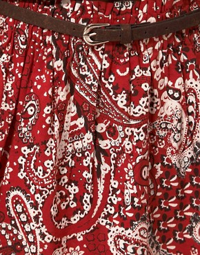 Image 3 ofBand of Gypsies Belted Skater Skirt in Bandana Print