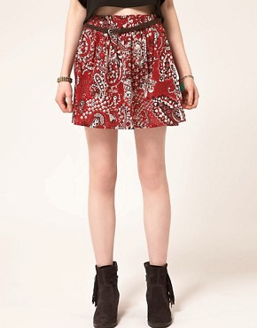 Image 4 ofBand of Gypsies Belted Skater Skirt in Bandana Print