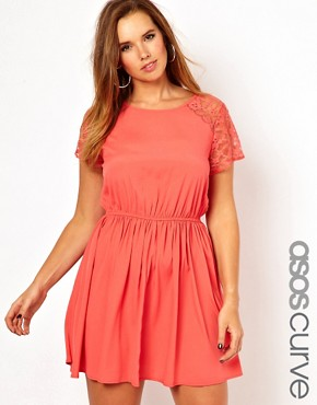 Image 1 ofASOS CURVE Exclusive Skater Dress With Lace
