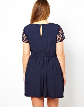 Image 2 ofASOS CURVE Exclusive Skater Dress With Lace