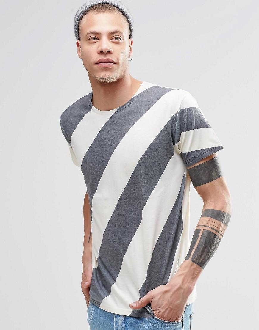 Классическая футболка в диагональную полоску Cheap Monday - Белый