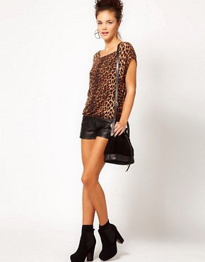 Image 4 ofRiver Island Animal Print Knitted T-Shirt