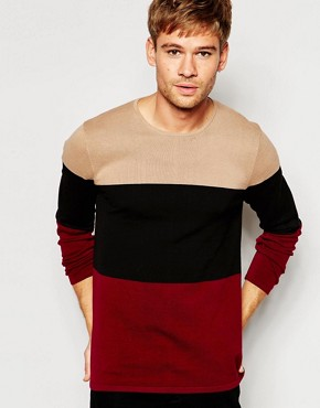 ASOS Jumper in Cotton with Colour Block Stripes