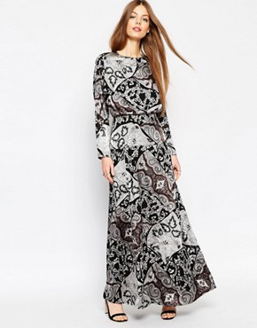 ASOS Mono Paisley Silky Maxi Dress