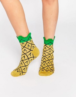 ASOS 3D Welt Glittery Pineapple Ankle Socks