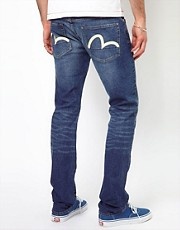 Evisu Jeans Fudo 2011 Slim Fit Ecru Seagull Blue Wash
