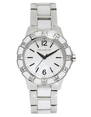 Karen Millen Stainless Steel Bracelet Watch with Stone Set Dial
