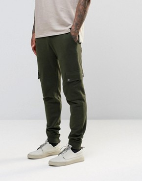 ASOS Skinny Joggers In Dark Khaki With Cargo Pockets