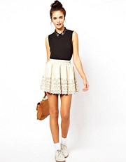 Dahlia PU Skirt with Cutwork Detail