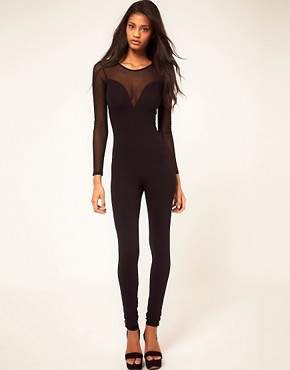 Image 1 ofASOS Unitard with Mesh Sleeves