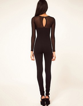 Image 2 ofASOS Unitard with Mesh Sleeves