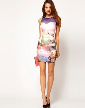 Image 4 ofLipsy Bodycon Dress in Cosmic Print