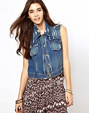 Free People Denim Gilet with Crochet Detail to Back