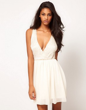 Image 1 ofASOS Skater Dress with Lace Top