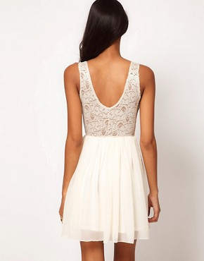 Image 2 ofASOS Skater Dress with Lace Top