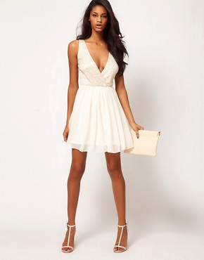 Image 4 ofASOS Skater Dress with Lace Top