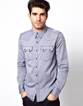 Image 1 ofLevi&#39;s Line 8 Shirt Slim Fit Sawtooth Western Chambray