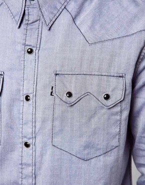 Image 4 ofLevi&#39;s Line 8 Shirt Slim Fit Sawtooth Western Chambray