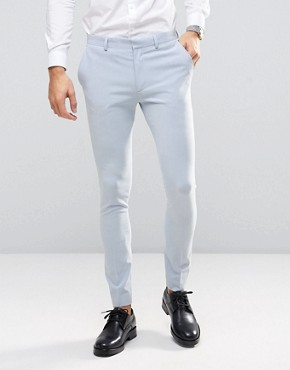ASOS WEDDING Super Skinny Suit Trousers in Soft Blue