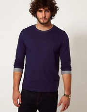 ASOS 3/4 Sleeve T-Shirt With Rolled Sleeves