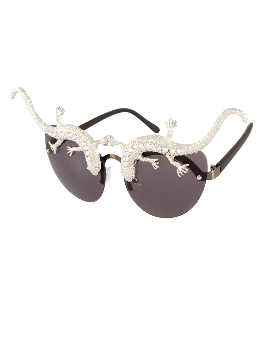 Image 1 of ASOS Premium Lizard Cat Eye Sunglasses