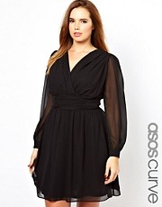 ASOS CURVE Wrap dress With Blouson Sleeve