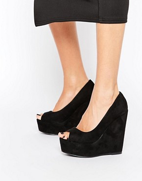 London Rebel Peeptoe Wedges