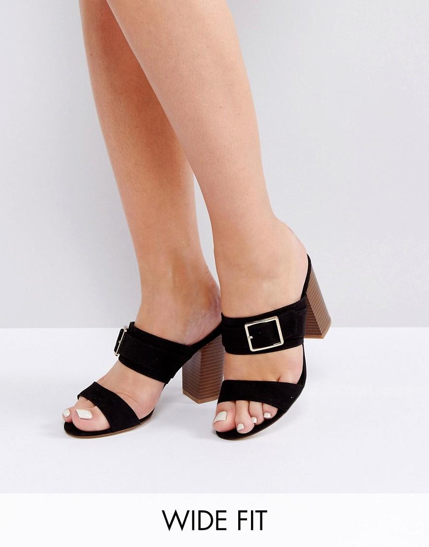 Сабо на каблуке для широкой стопы с пряжкой New Look - Черный