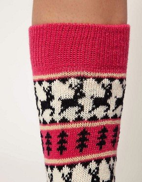 Image 2 ofASOS Deer Fairisle Knee High Socks