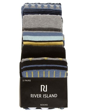 Image 3 ofRiver Island 5 Pack Aztec Socks