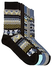 River Island 5 Pack Aztec Socks