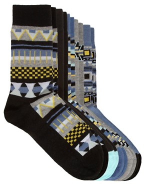 Image 1 ofRiver Island 5 Pack Aztec Socks