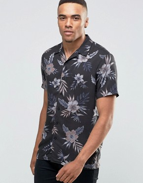New Look Charcoal Shirt With Floral Print In Regular Print