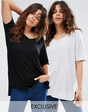 ASOS V Neck Oversized Slouchy Rib 2 Pack Save 15%