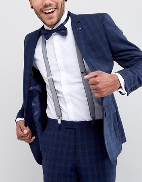 ASOS Braces & Bow Tie Set In Herringbone And Plain Navy