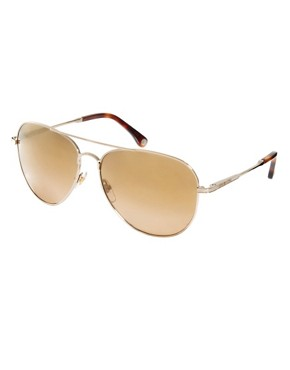 Image 1 ofMichael Kors Gold &amp; Brown Classic Aviator Sunglasses
