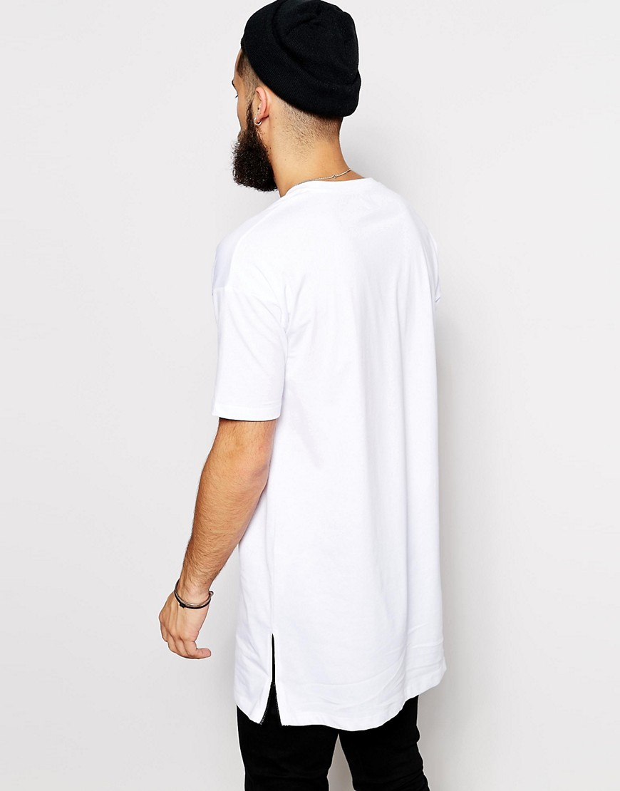 Image 2 of ASOS Super Longline T-Shirt With Side Zip Detail