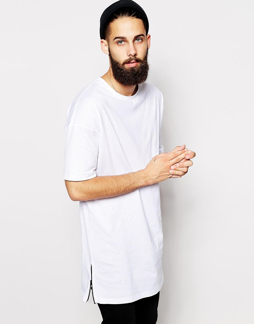 Image 1 of ASOS Super Longline T-Shirt With Side Zip Detail