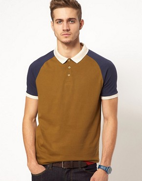Image 1 ofASOS Polo With Contrast Raglan Sleeves