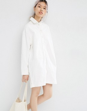 ASOS WHITE Oversized Denim Shirt Dress