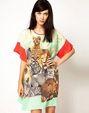 Emma Cook Silk Kaftan in Safari Collage Print