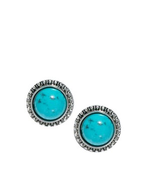 Image 1 ofRiver Island Turquoise And Silver Stud Earrings