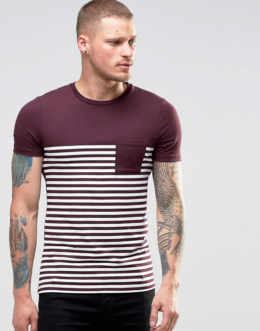 ASOS Extreme Muscle Stripe T-Shirt In Oxblood - Red
