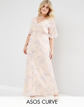 ASOS CURVE WEDDING Maxi Dress In Soft Rose Print